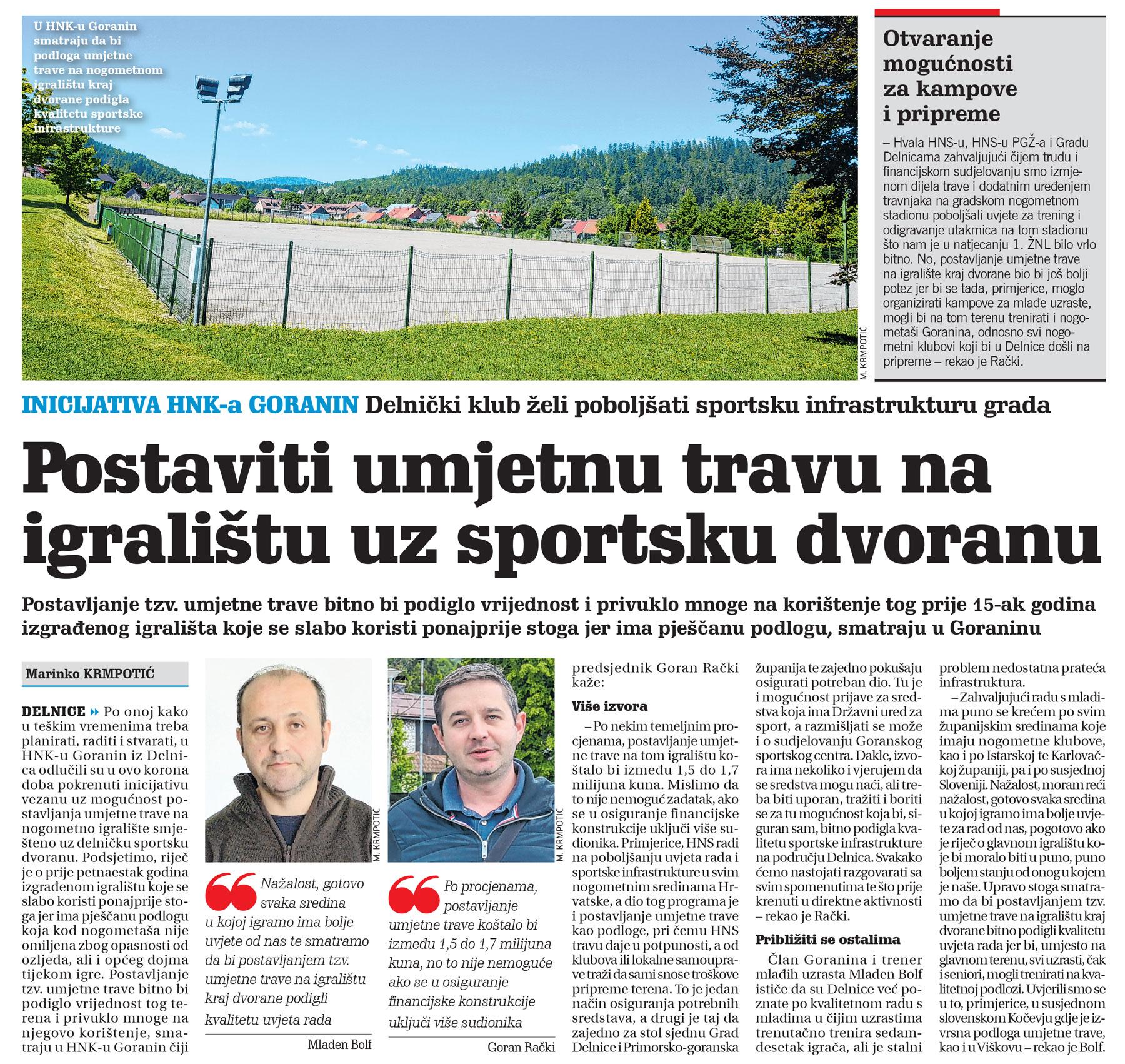 članak novi list, umjetna trava, sportsko igralište