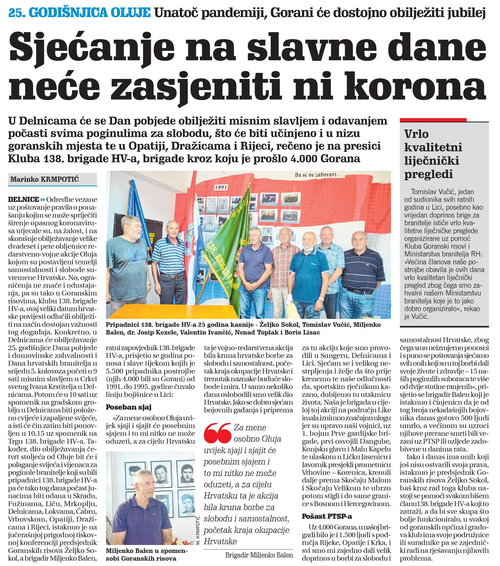članak novi list, 138. brigada, proslava oluje