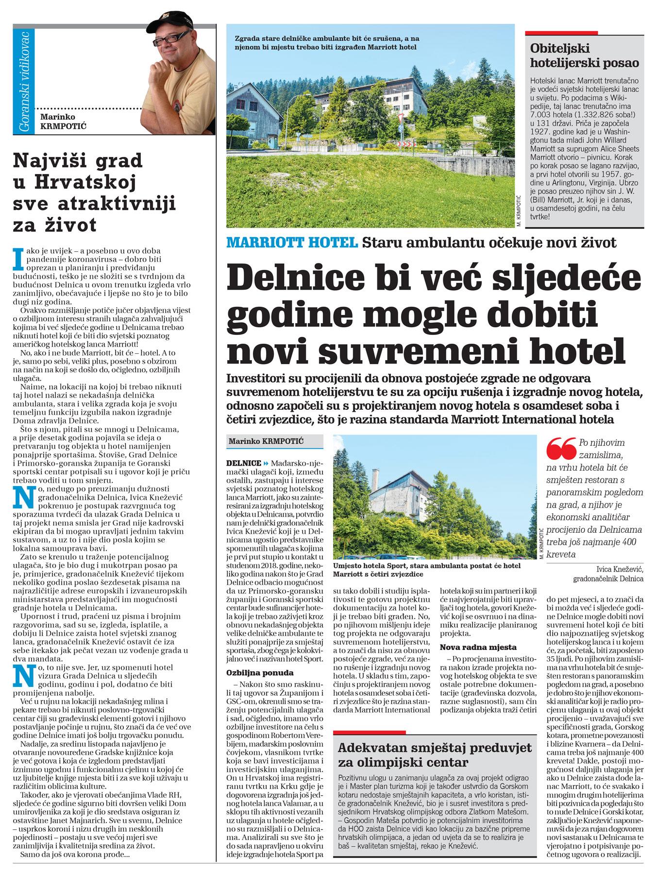 goranski novi list, članak o hotelu