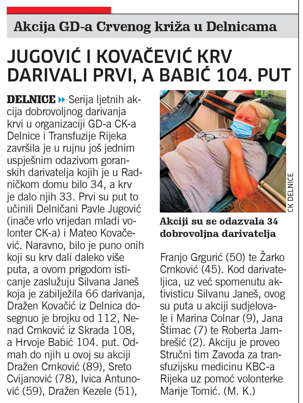 članak novi list, darivanje krvi