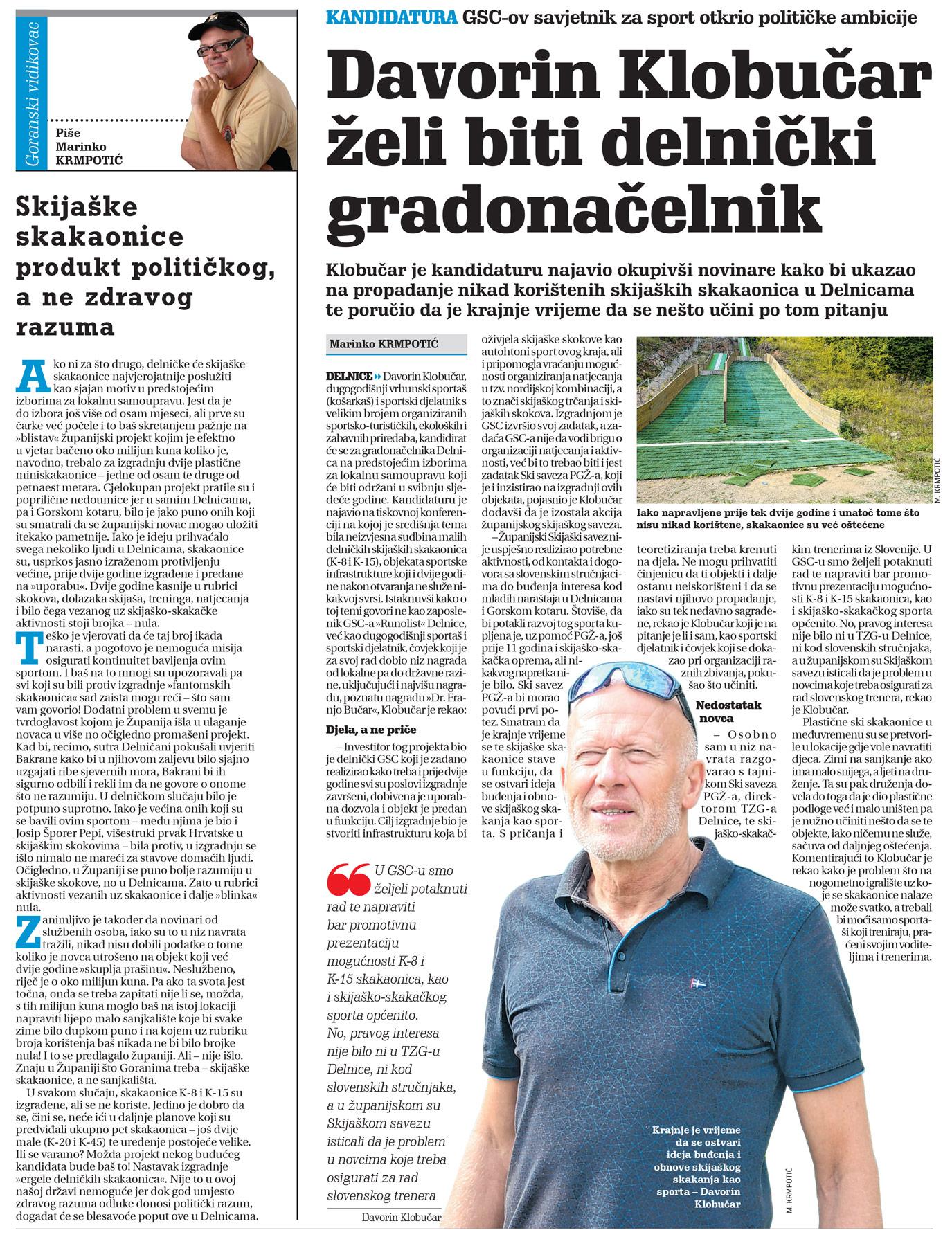 članak, novi list, davorin klobučar, kandidatura za gradonačelnika