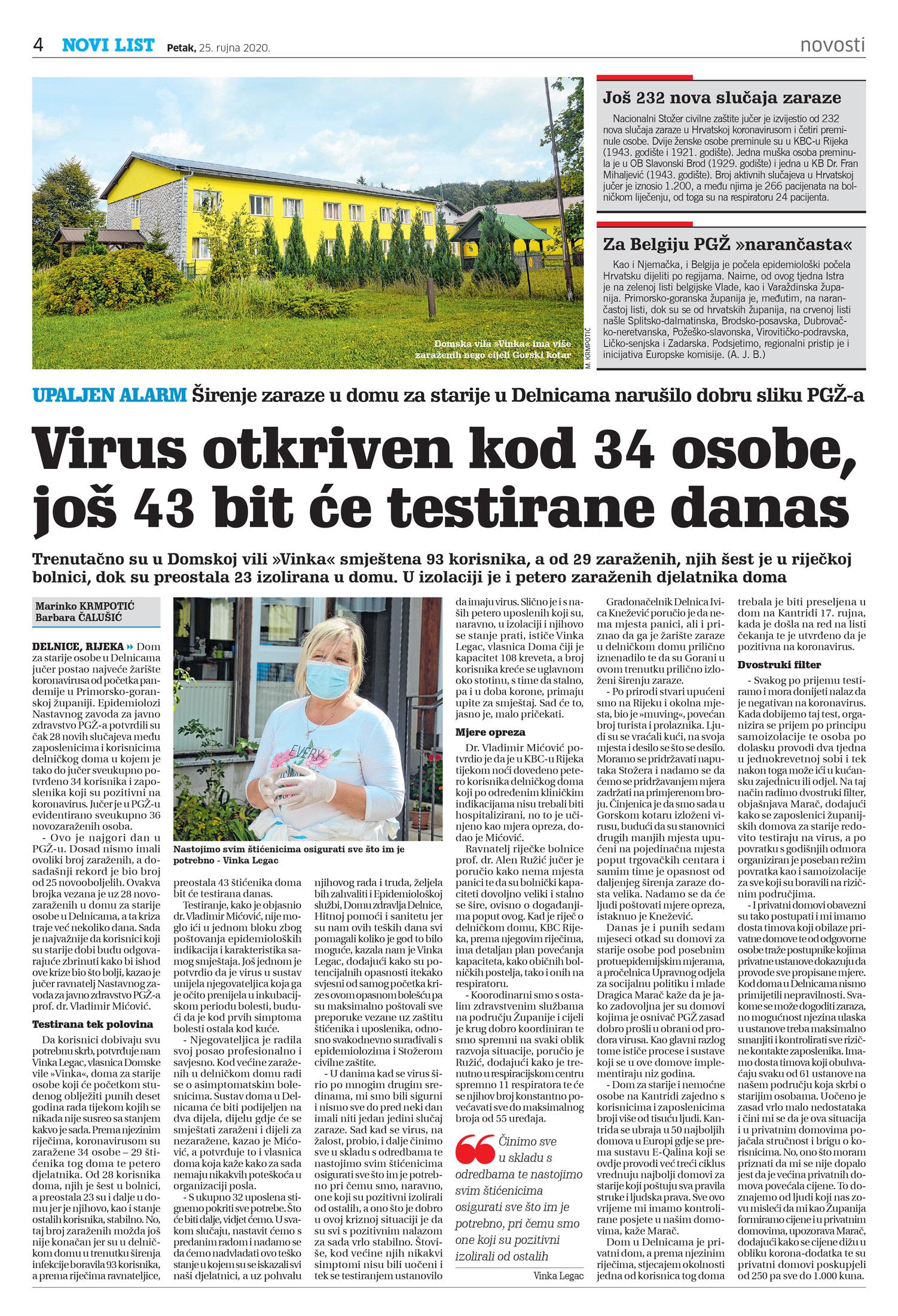 članak, novi list, covid19 virus, starački dom delnice