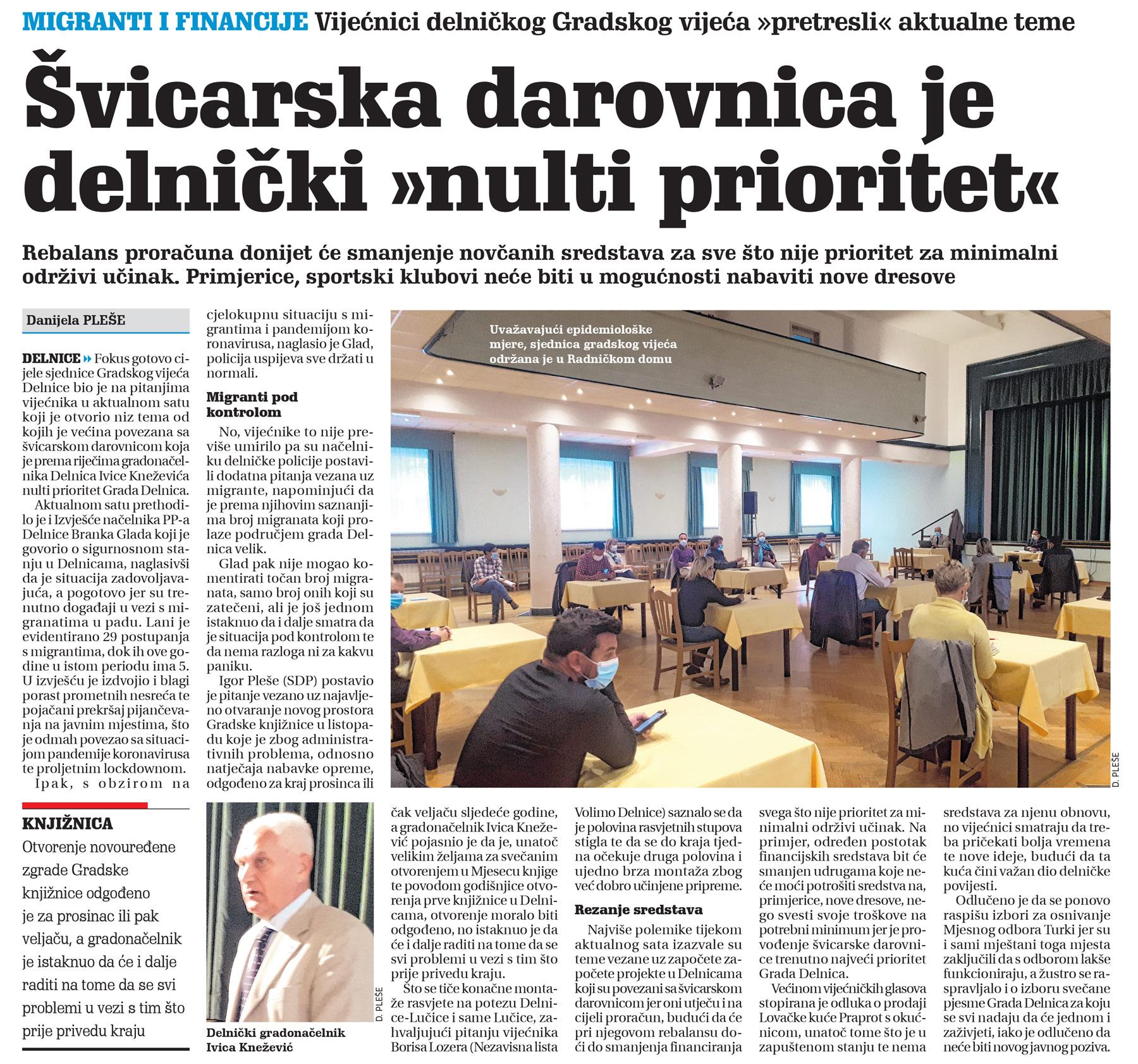 članak, novi list, sjednica vijeća grada delnica, švicarska darovnica