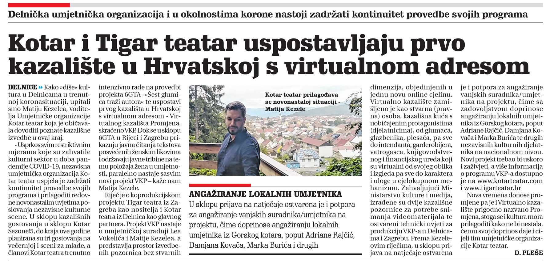 članak, novi list, kotar teatar, prvo virtualno kazalište u hrvatskojr