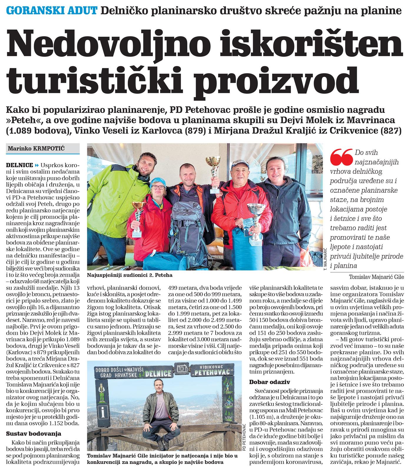 članak, novi list, natjecanje peteh, hpd petehovac