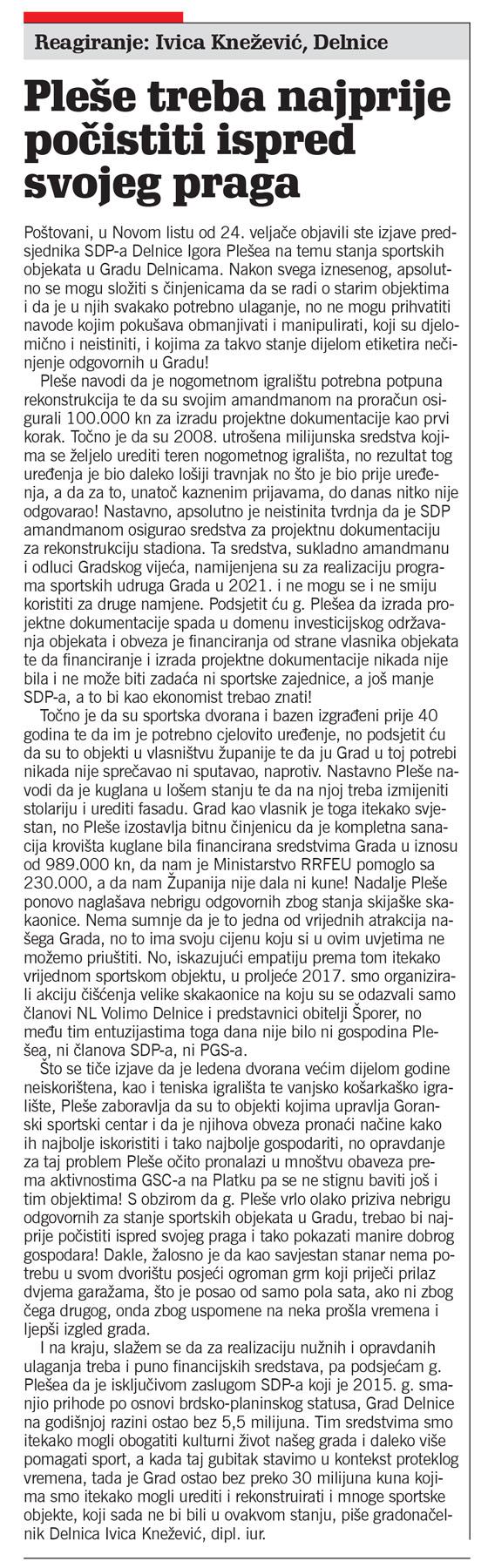 članak, novi list, reagiranje ivica knežević