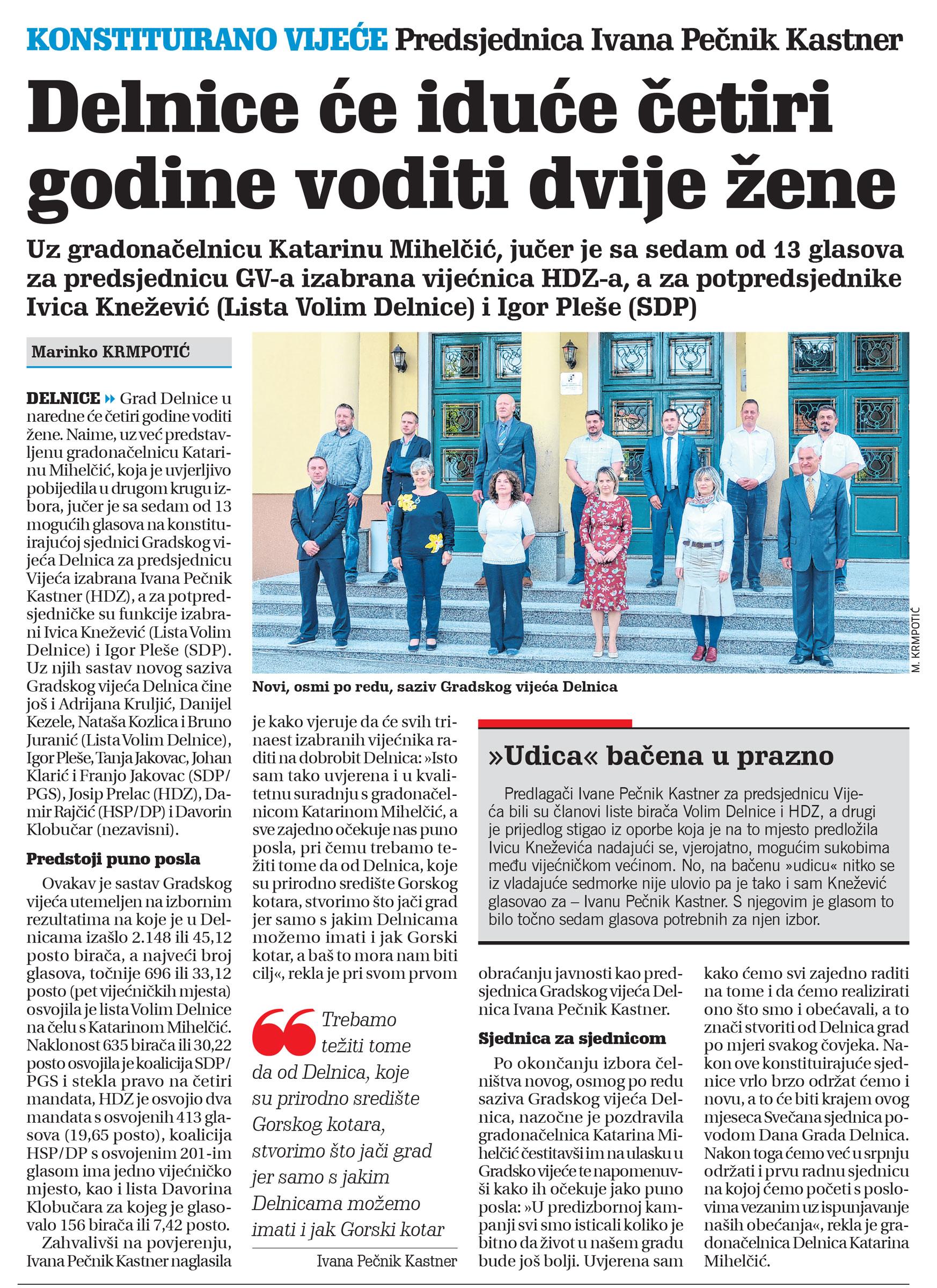 članak, novi list, gradsko vijeće delnice